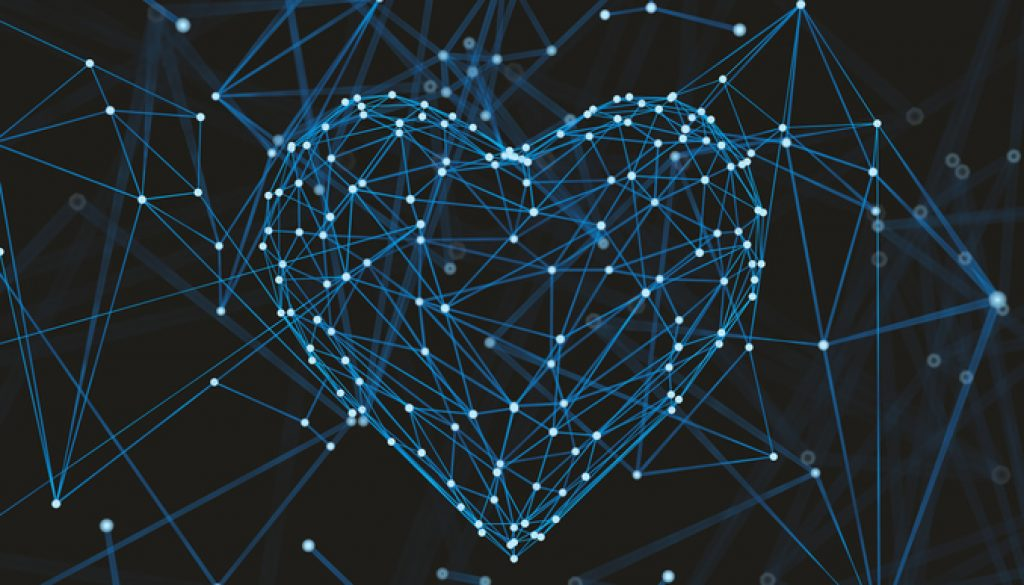 Abstract plexus in heart Shape molecule or Atom.